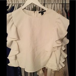 Forever 21  white ruffled top size large